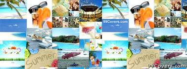 Summer beach Collage Facebook Cover Photo