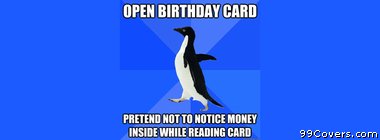 Socially Awkward Penguin birthday card Facebook Cover