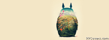 totoro spring illustration Facebook Cover Photo