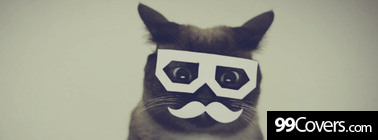 funny cat mustache glasses Facebook Cover