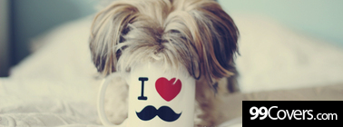 puppy i love mustache mug Facebook Cover Photo