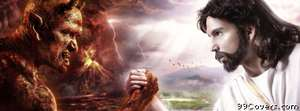 satan jesus arm wrestle Facebook Cover Photo