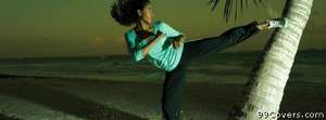 kickboxing beach palm tree woman Facebook Cover Photo