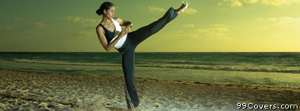 kickboxing beach woman Facebook Cover Photo