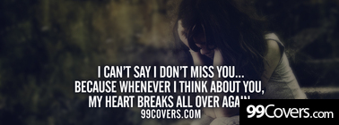 I cant say I dont miss you Facebook Cover Photo