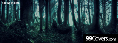 creepy forest at night Facebook Cover Photo