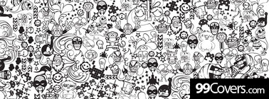 abstract monochrome collage doodles Facebook Cover Photo