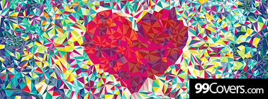 abstract heart shape collage Facebook Cover Photo