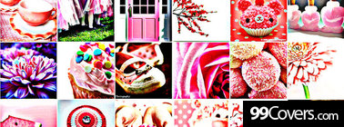 pink color collage Facebook Cover Photo