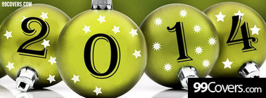 Happy new Year 2014 ornaments Facebook Cover