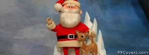 santa and rudolf christmas Facebook Cover Photo