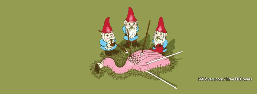 Gnome Flamingo Funny Facebook Cover Photos