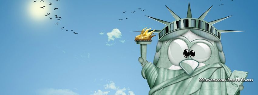 Funny Statue  Of Liberty Pinguin Facebook Cover Photos