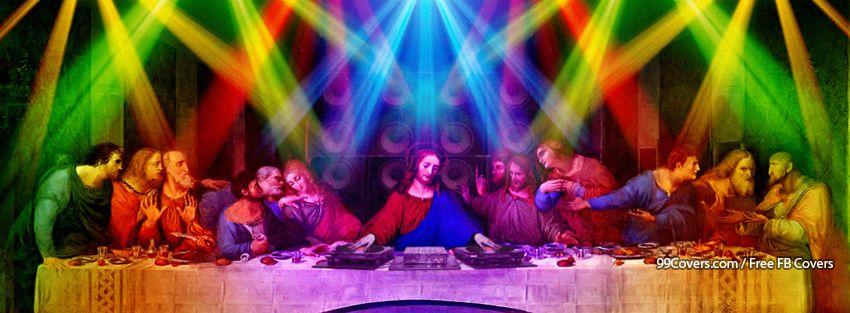 Funny Multicolor DJ Jesus Christ Scene Facebook Cover Photos