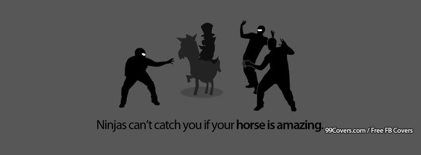 Funny Ninjas With A Horse Facebook Cover Photos