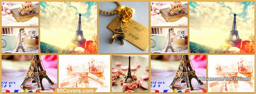 Colorful Paris Collage Facebook Cover Photos