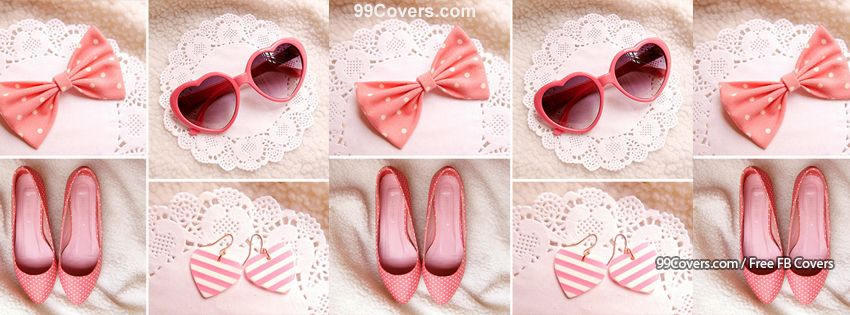 Pink Bow Fashion Collage Facebook Cover Photos