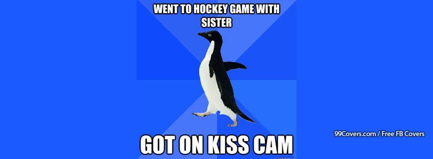 Socially Awkward Penguin Kiss Cam Facebook Cover Photos