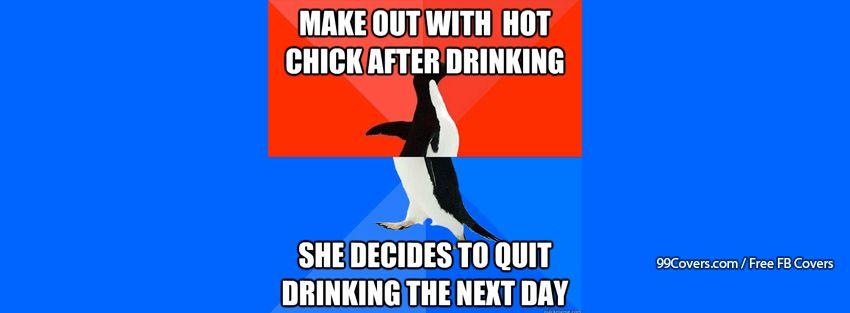 Socially Awesome Awkward Penguin Drinking Facebook Cover Photos