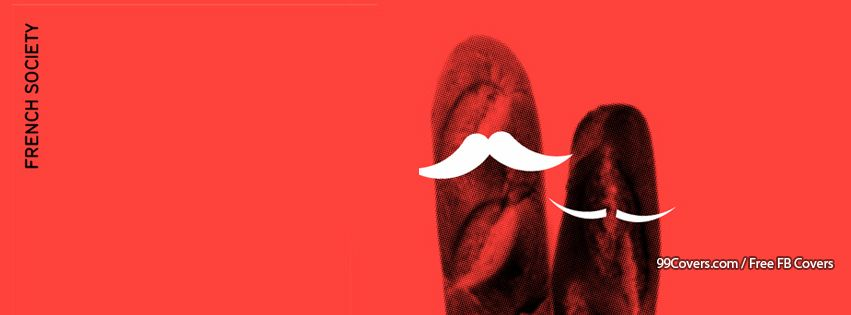 French Society Baguette Mustache Facebook Cover Photos