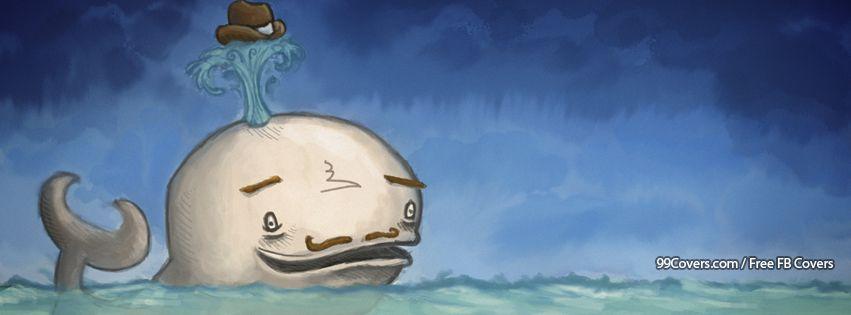 Funny Mustache Whale Art Facebook Cover Photos