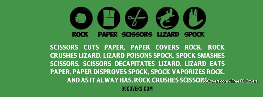 Rock Paper Scissors Lizard Spock Facebook Cover Photos