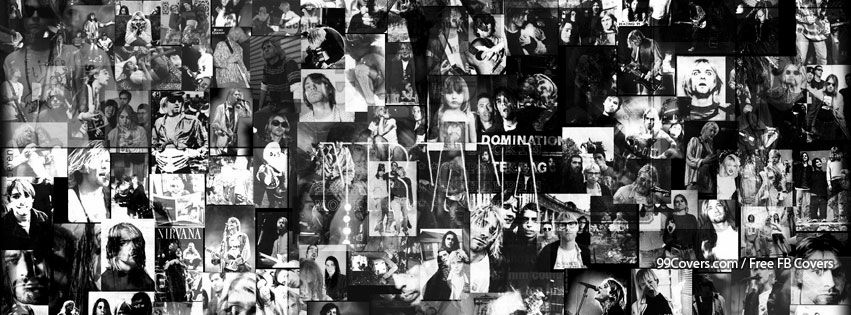 Nirvana black and white collage facebook cover photos