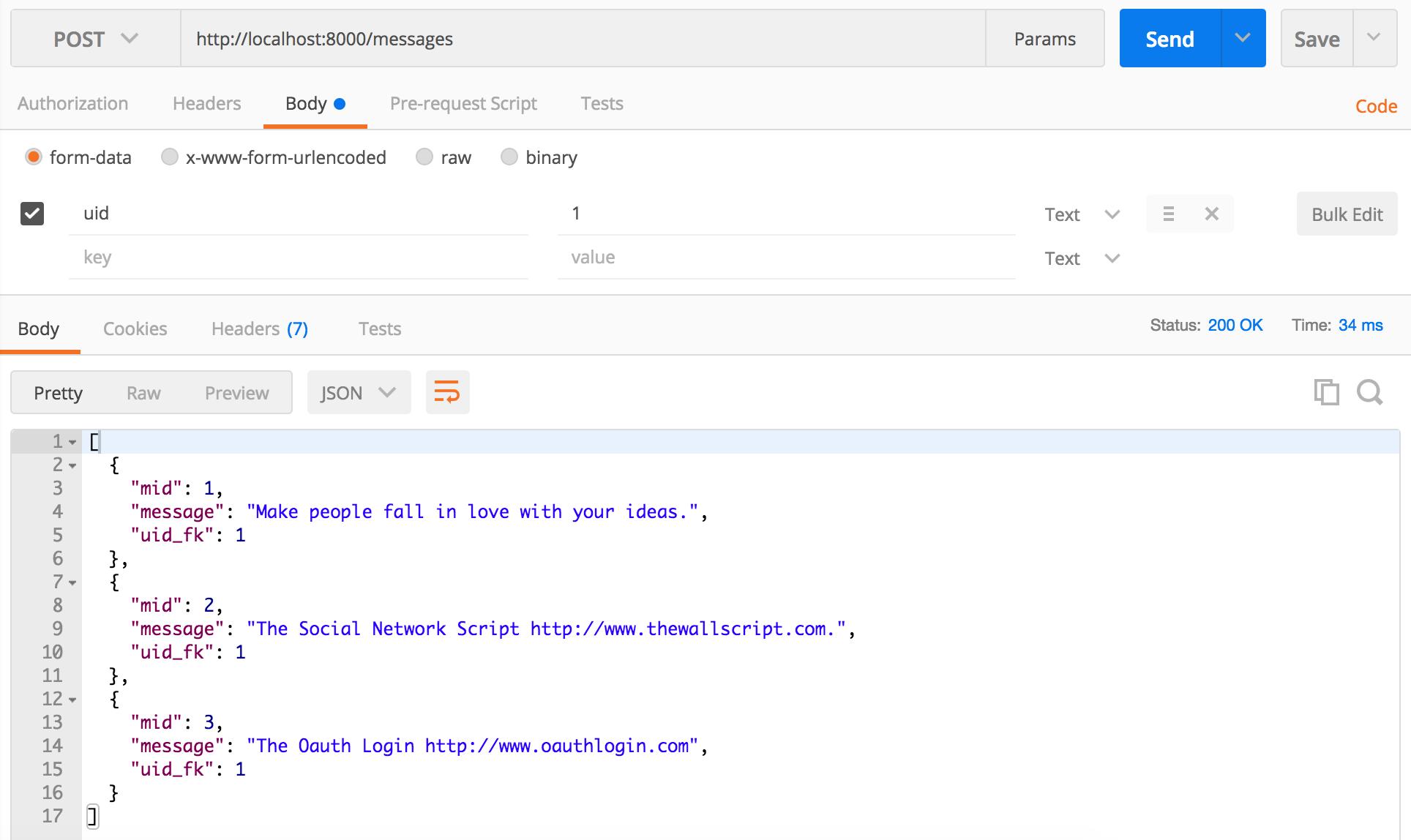 Create a RESTful API using NodeJS and MySQL Database