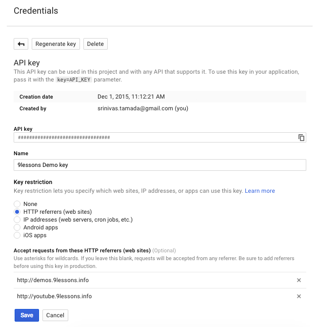 Youtube Google API create credentials