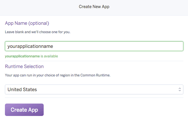 Create a heroku application
