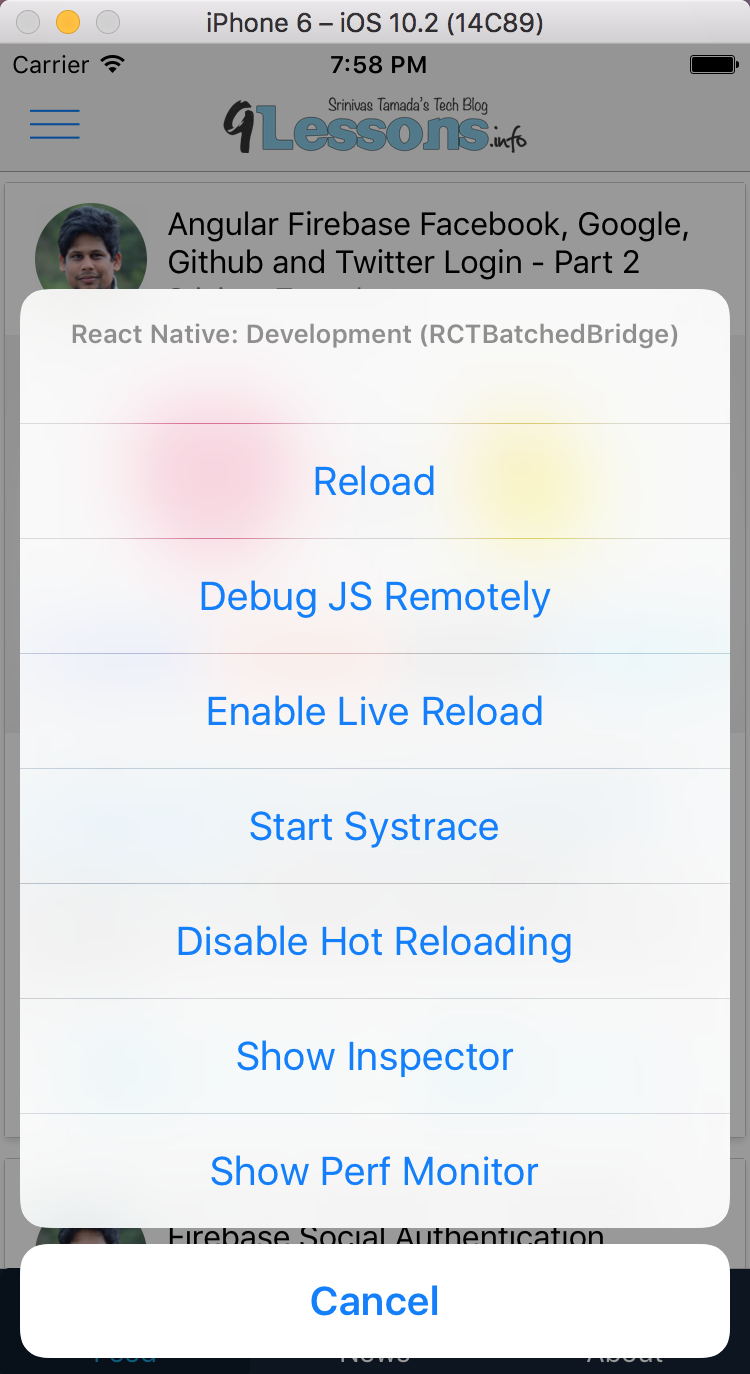 React Native Hot Loading for Development