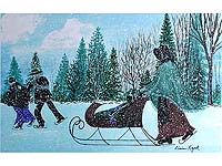 Amish Family Skaters Signed Print by Elaine Kozak
