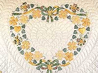 Yellow and Green Hearts Bouquet Quilt