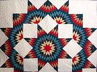 Teal Blue Coral Red and Tan Broken Star Quilt