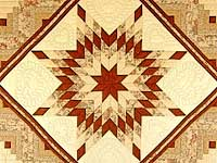Brick Red and Cream Lone Star Log Cabin Quilt