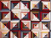 King Red Navy and Multicolor Log Cabin Quilt
