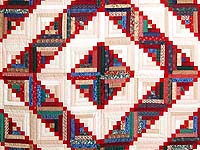 King Navy Red and Multicolor Stepping Stone Log Cabin Quilt