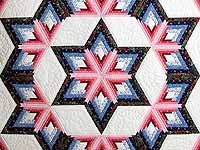 Blue and Rose Triple Diamond Star Quilt