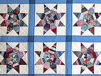 Blue Remnants Stars Patchwork Quilt