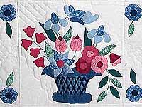 Blue and Rose Garden Baskets Quilt
