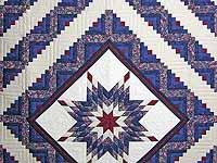 Navy Burgundy and Rose Lone Star Log Cabin Quilt