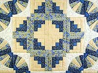 Blue and Yellow Cream Fan Log Cabin Quilt