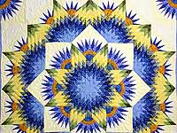 Blue and Yellow Compass Star Quilt