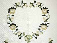 Soft Green Tan and Neutrals Heart of Roses Quilt