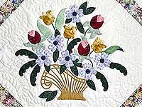 Pastel Blue and Rose Spring Basket Quilt