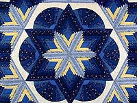 Blue and Yellow Diamond Star Fan Quilt