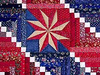 Red and Navy Cornerstone Quilt with Stars