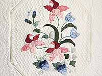 King Pastel Blue and Salmon Petal Showcase Quilt