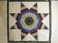 Burgundy Green and Blue Fine Lone Star Quilt