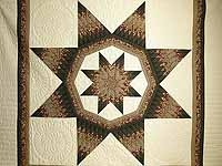King Moss Burgundy and Tan Royal Star of Maryland Quilt